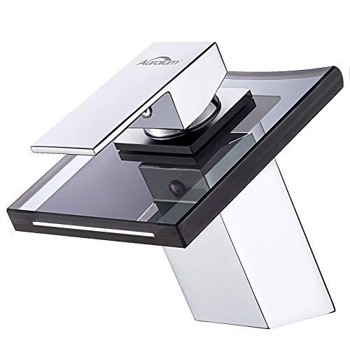 Auralum Badarmatur Wasserhahn Waschtischarmatur aus Glas, Grau Waschbecken Einhandmischer...