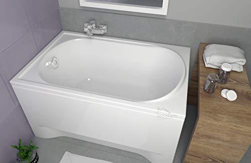 ECOLAM Badewanne Mini kleine Wanne Rechteck Acryl weiß 110x70 cm + Schürze Ablaufgarnitur Ab-...