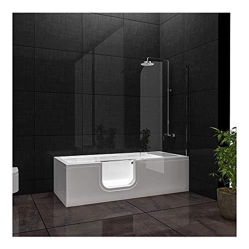 Vitra Combo Badewanne links aus Sanitäracryl, Seniorenbadewanne mit Tür Seitenschürze links...