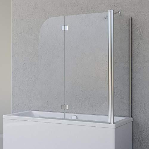 Schulte Badewannenfaltwand Angle, 2-teilig 112 x 142 cm mit Seitenwand für 70 cm Badewanne, 5...