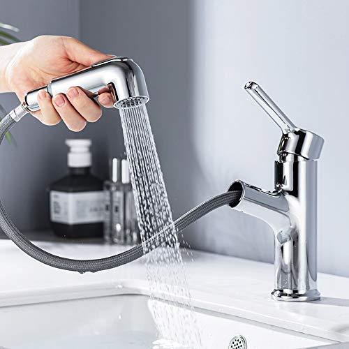 ONECE Waschtischarmatur ausziehbar Wasserhahn Bad mit 2 Strahlarten Brause Einhebelmischer...