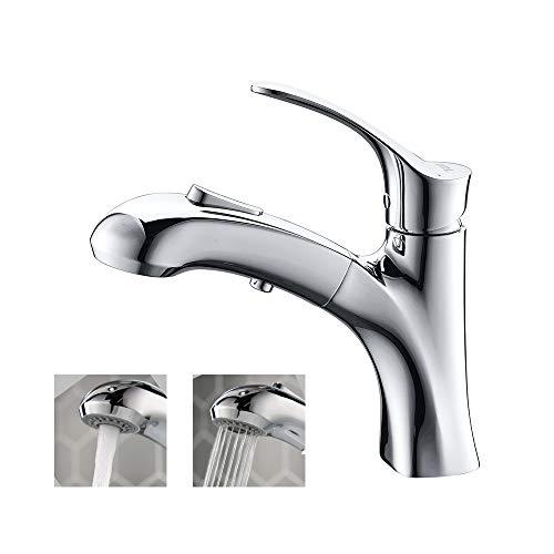 Amazon Brand - Umi Wasserhahn Bad mit Ausziehbar Brause - Waschtischarmatur 2 Strahlarten mit...