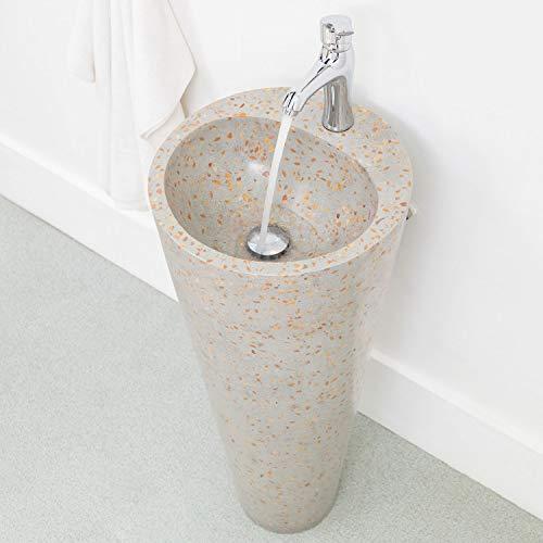 wohnfreuden Terrazzo Standwaschbecken Waschtischsäule 40 x 90 cm grau rot Stein...
