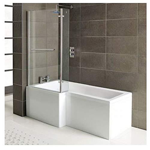 Badewanne SYNA 167,5cm Links + Duschkabine + Wannenschürze + Ablaufgarnitur + Wannenfüße