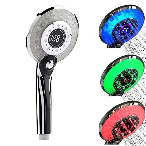 LED Duschkopf, Duschkopf Regendusche LED 3 Farben Farbwechsel Temperaturregelung, Handbrause...