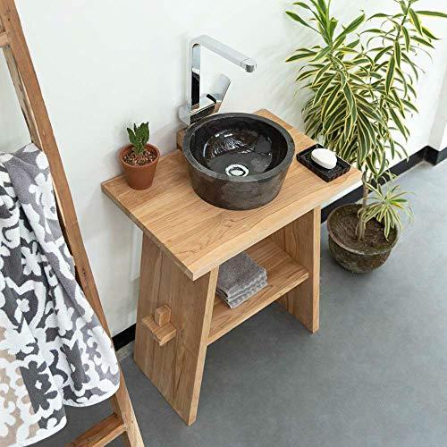 wohnfreuden Waschtisch aus Teak-Holz 74 cm hoch - 60 cm lang ✓ geschliffene Oberfläche ✓...
