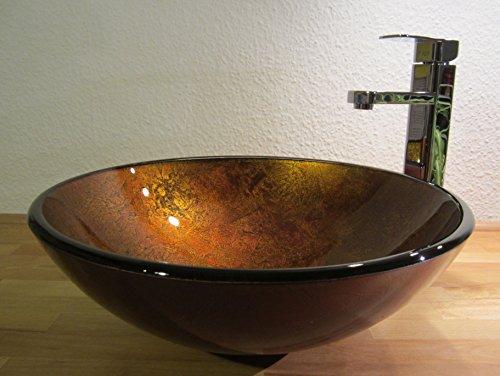 Nero Aufsatz Glas Waschbecken Antik gold 42cm
