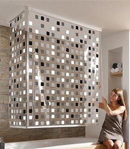 Hochwertiges Eck Duschrollo - Badrollo für die Dusche oder Wanne-Design 6 :Mosaik schwarz /-...