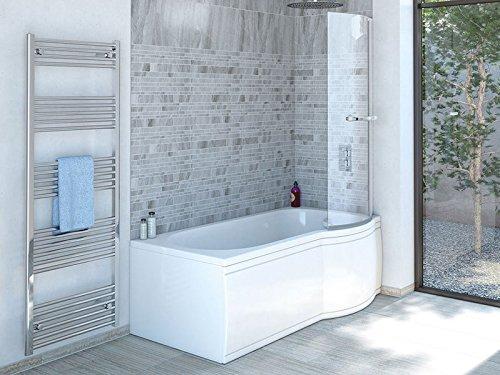 Badewanne SKALI Rechts 167,5x80/70cm + Duschkabine + Wannenschürze + Ablaufgarnitur +...