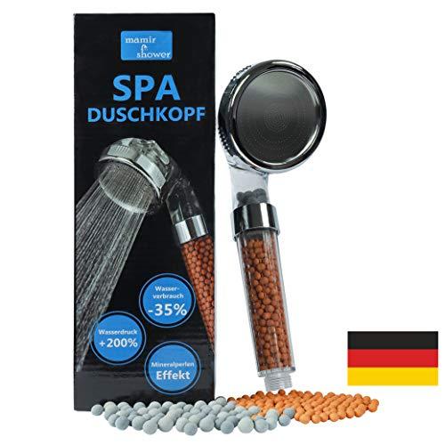 SPA Duschkopf wassersparend mit Druckerhöhung • 200% mehr Wasserdruck • Kalkfilter Dusche...