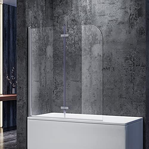 SONNI Duschwand für Badewanne 120x140 cm(BxH) badewannenfaltwand 2-teilig Faltbar 6 mm...