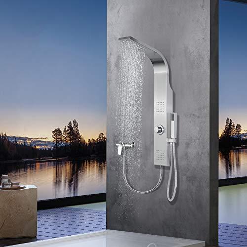 Elbe Duschpaneel ohne Armatur mit 3 Funktionen, Duschsystem aus gebürstetes Edelstahl 304, mit...