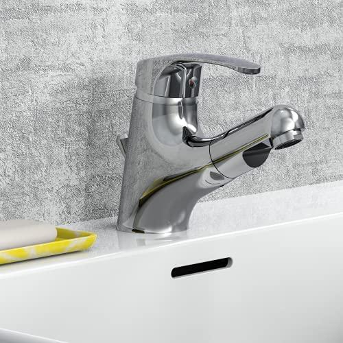 EISL NI075TCO Waschtischarmatur Bad, Wasserhahn mit Haarbrause, Badarmatur mit ausziehbarer...