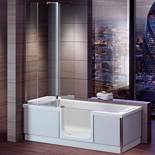 Badewanne mit Tür, Seniorenbadewanne 180x80x57,5cm mit Duschkabine,Wannenschürze und...