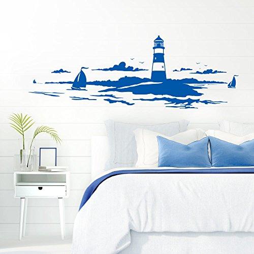 Grandora Skyline Küstenlandschaft Leuchtturm I azurblau 120 x 42 cm I Bad Wohnzimmer...