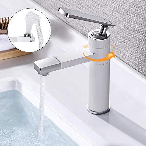 BONADE Weiße Badarmatur Wasserhahn 360° Drehbarer für Waschbecken Einhebelmischer Chrom...