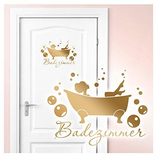 Wandaro Wandtattoo Badewanne I Gold (BxH) 27 x 21 cm I Badezimmer Bad Deko WC selbstklebend...