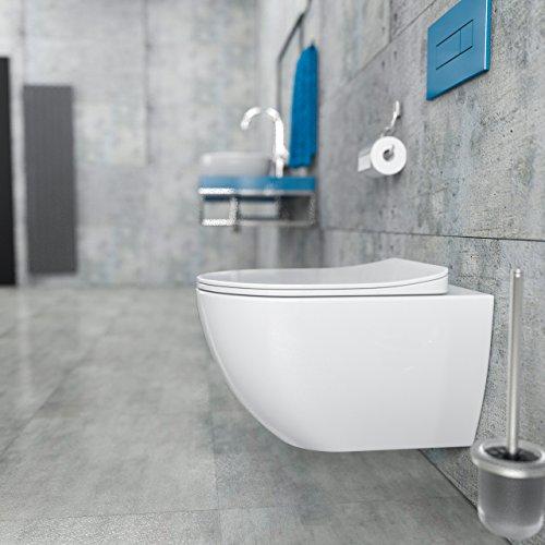 Design Wand-Hänge-WC Toilettenschüssel Tiefspüler inkl. WC Sitz aus Duroplast mit...