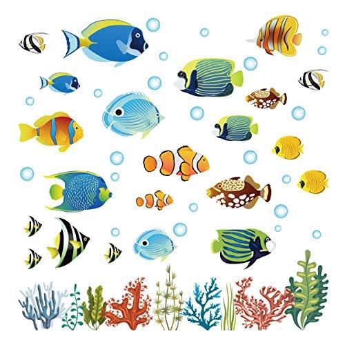 decalmile Wandtattoo Tropischer Fisch Wandsticker Unter dem Meer Wandaufkleber Kinderzimmer...