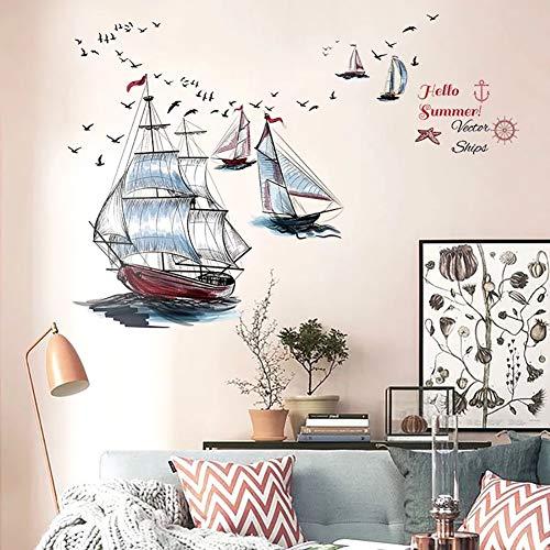 WandSticker4U®- Wandsticker SEGELSCHIFFE I Wandbilder: 105X115cm I Wandtattoo Segel Boot...
