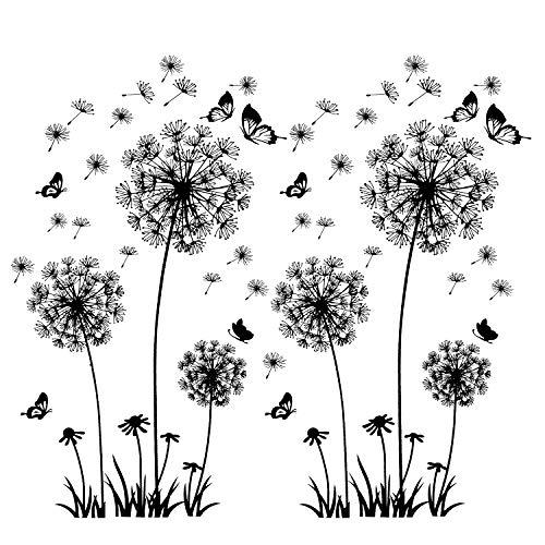 2 Stück Schwarz Wandtattoo Pusteblumen für Wanddeko,XXL Groß Löwenzahn Blumen Pflanzen...