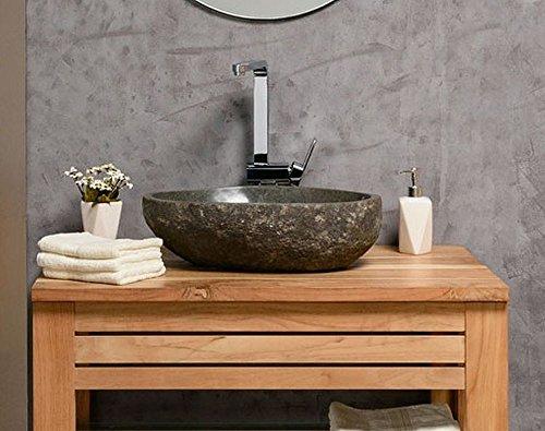 wohnfreuden Waschbecken aus Stein natürlich ca 40 cm Naturstein in Bad WC Garten mit...