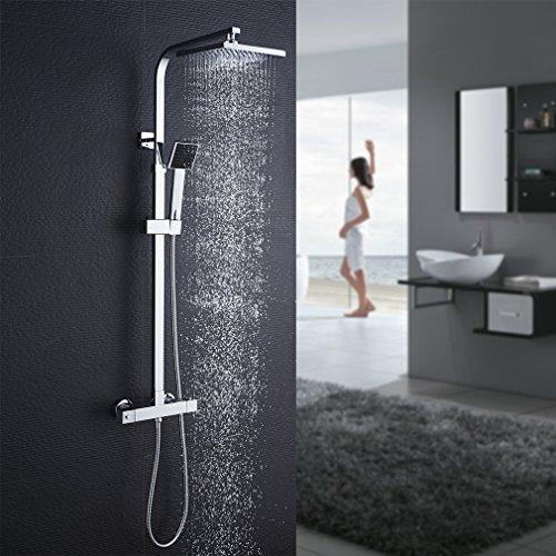 Auralum Duschsystem mit Thermostat Mischer, Duscharmatur Thermostat mit Regendusche und...
