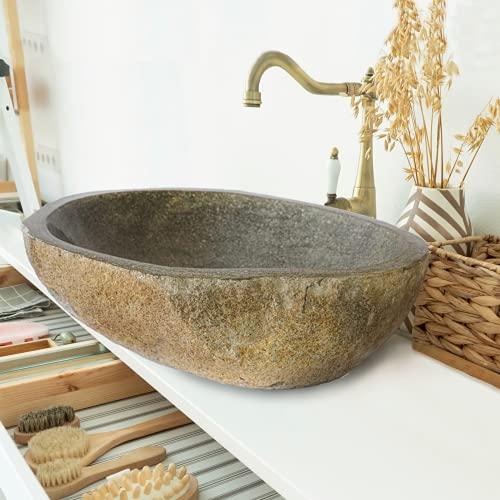 Flussstein Waschbecken - aus Naturstein, handgemacht, Unikat, rund oder oval, Grau,...